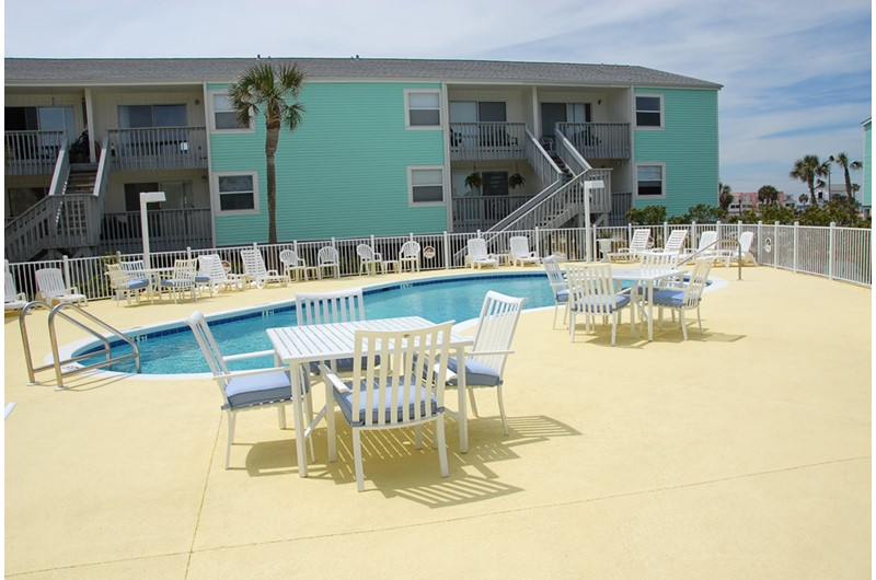 Large pool deck at Villas on the Gulf in Pensacola Beach Florida