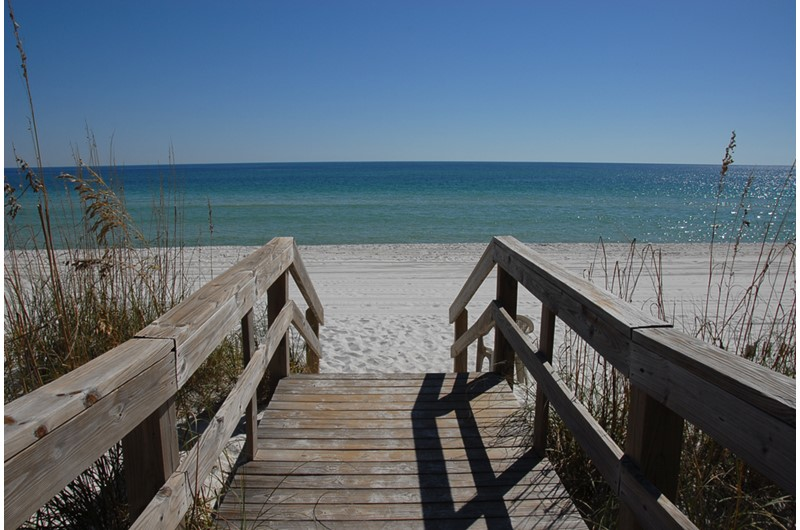 Easy boardwalk access to the beach at Villas on the Gulf in Pensacola Beach Florida