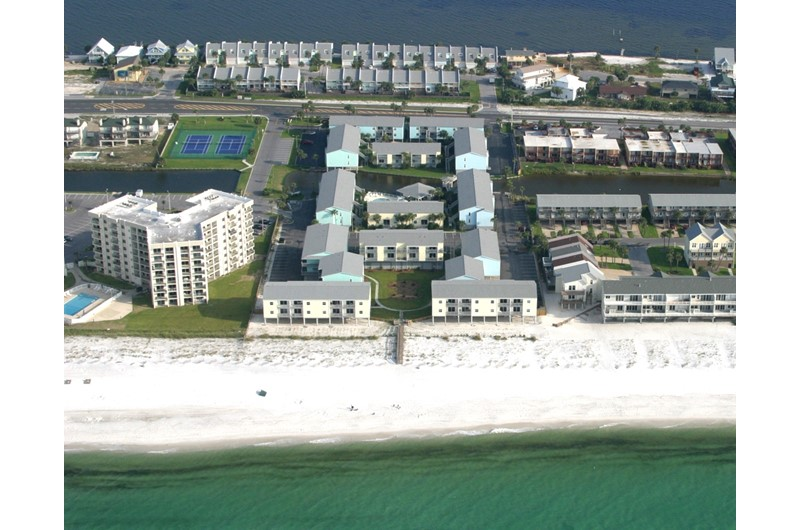 Birds's eye view of Villas on the gulf in Pensacola Beach Florida